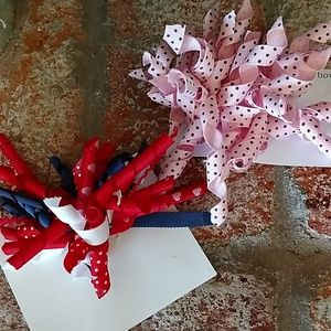 Accessories - 2 Korker Hairbows Red White Blue  Pink